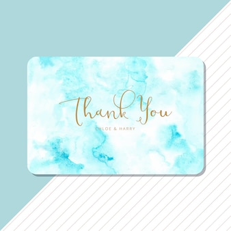 Thank you card with blue abstract watercolor background