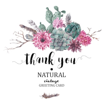 Thank you card with branches and succulent