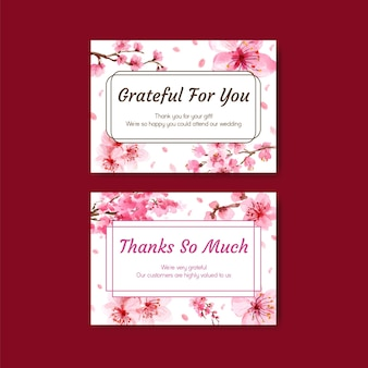 Thank you card with cherry blossom concept design watercolor illustration