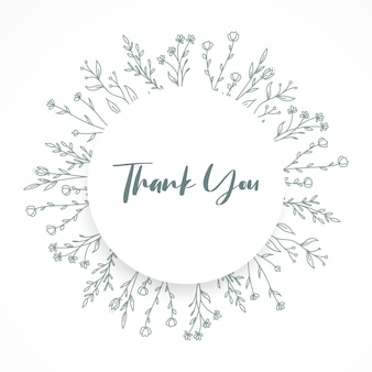 Thank you card with circle floral ornament