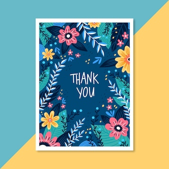 다채로운 꽃 프레임 감사 카드