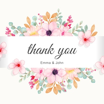 Thank you card with cute pink flower border