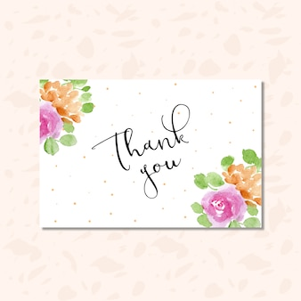 Thank you card with dots and floral watercolor frame