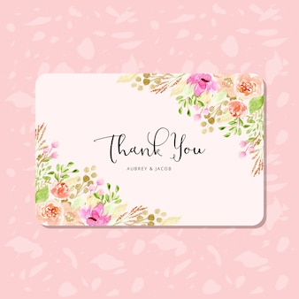 Thank you card with floral frame watercolor
