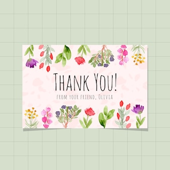 Thank you card with floral garden watercolor background