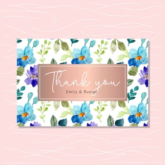 Thank you card with floral pattern watercolor
