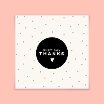 Thank you card with golden dots