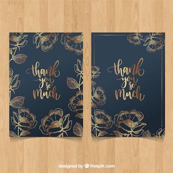 Grazie carta con fiori d'oro