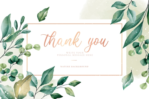 Thank you card with green leaves