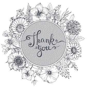 Thank you card with hand drawn flowers, leaves and branches in sketch style.