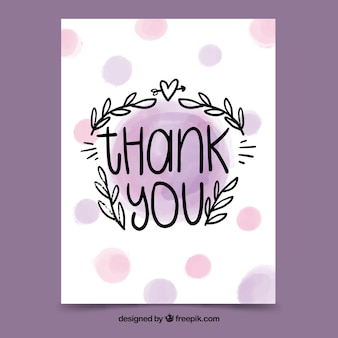 Thank you card with lettering in watercolor stain