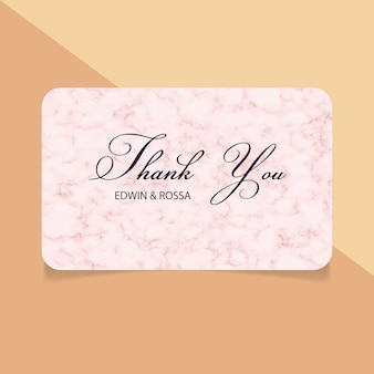 Thank you card with marble texture background
