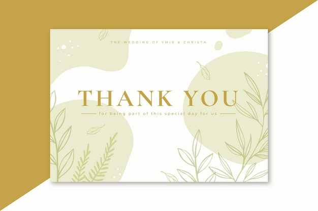 Thank you card with minimalist leaves