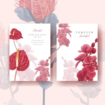 Открытка с пампасами цветочная акварель