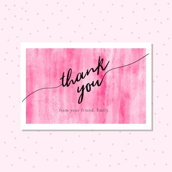 Thank you card with pink abstract watercolor background