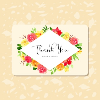 Thank you card with pretty watercolor flower frame