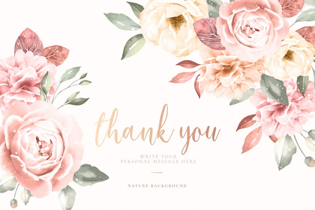 Thank you card with vintage floral frame