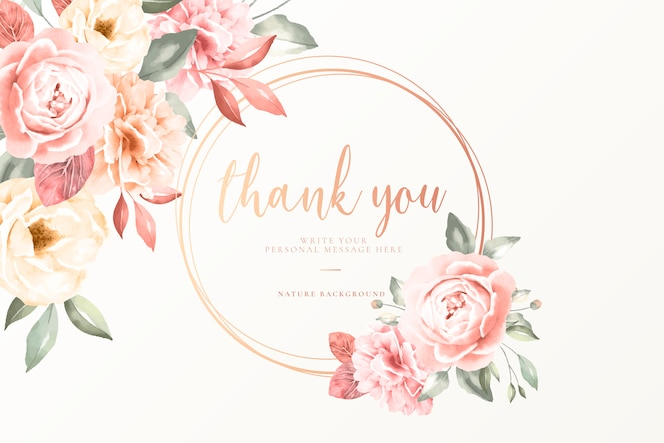 Thank you card with vintage flowers
