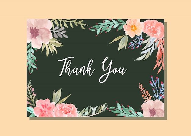 Thank you card with watercolor floral frame