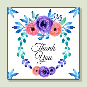 Thank you card with watercolor floral wreath