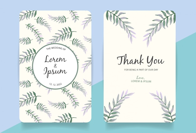 Thank you card with watercolor leaves background