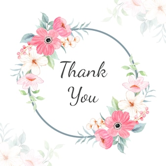 Thank you card with watercolor pink floral frame
