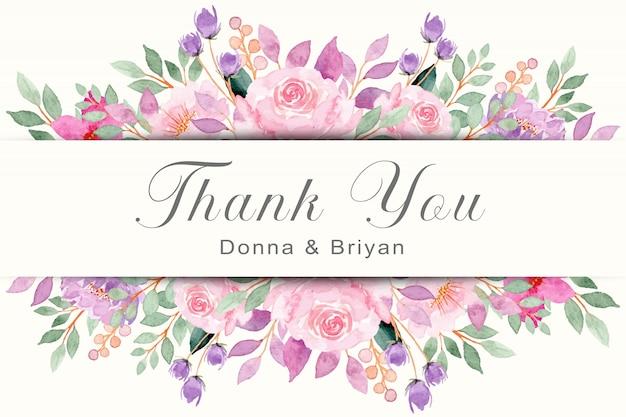 수채화 핑크 꽃과 감사 카드