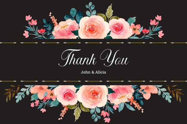 Thank you card with watercolor pink rose flower border