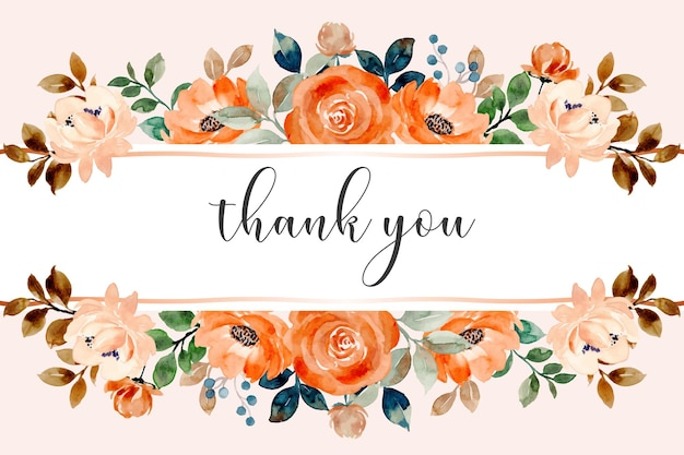 Thank you card with watercolor rose flower border