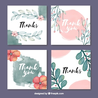 Thank you cards collection with watercolor design Premium Vector