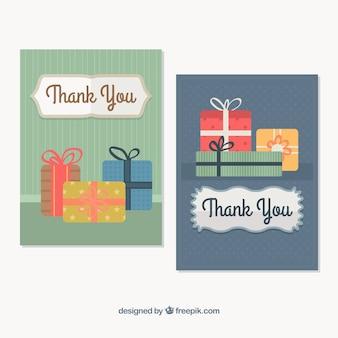 빈티지 스타일의 선물 감사 카드