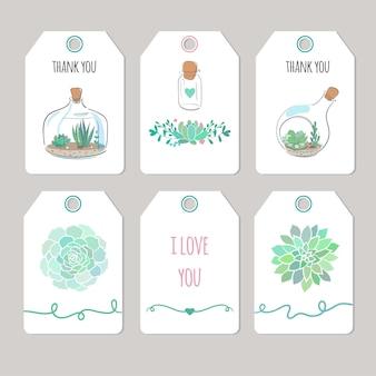 다육 식물, 벡터 인쇄 가능한 태그 및 카드가 있는 감사 카드