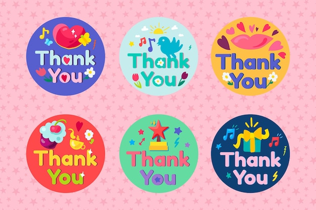Thank you collection lettering text set vector. thanks and gratitude phrase decorated bird and butterfly, lips and heart, flower and cloud sky, drink cup and dessert flat cartoon illustration
