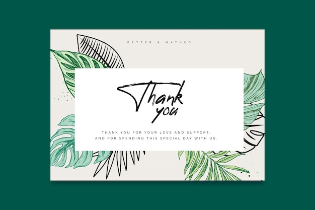 Thank you for coming wedding card template