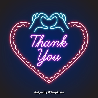 Thank you composition with neon light style