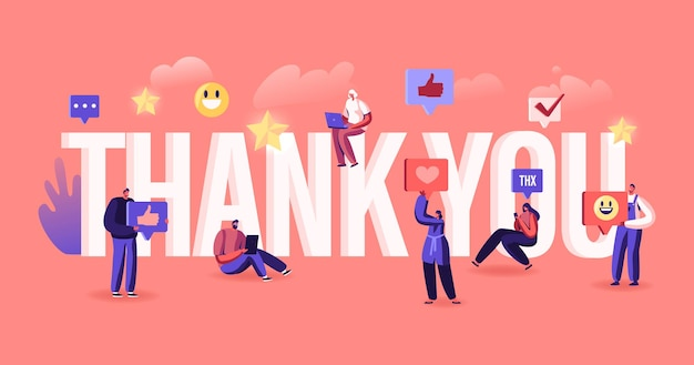 감사합니다 개념. 감사하는 blogger 또는 미디어 담당자는 인터넷 소셜 네트워크의 팔로워에게 감사를 표합니다. 만화 평면 그림