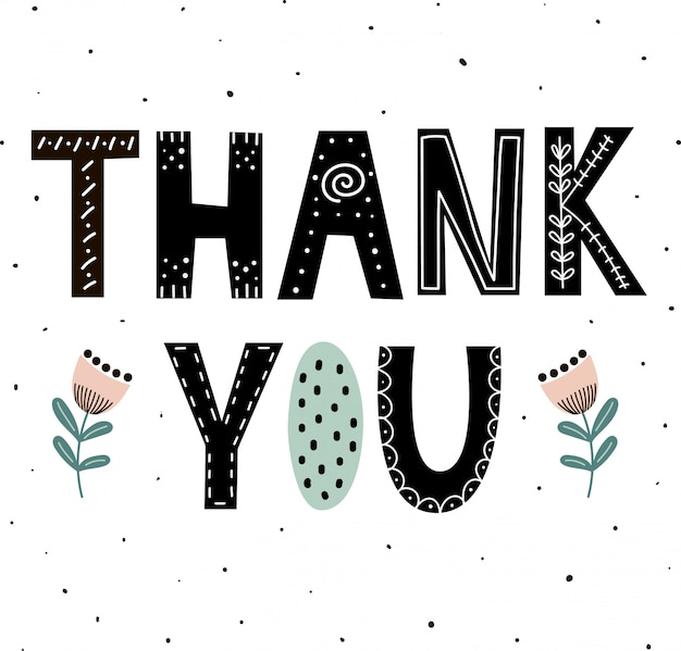 Thank you cute hand drawn lettering with flowers for print design