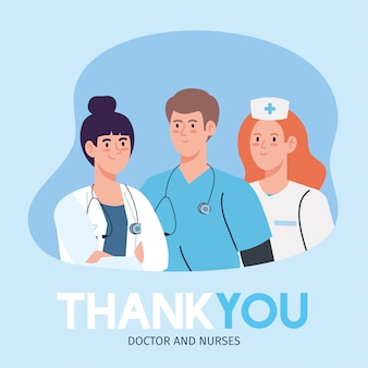 Thank you doctor and nurses working in hospitals, staff doctors and nurse fighting the coronavirus covid 19 illustration design