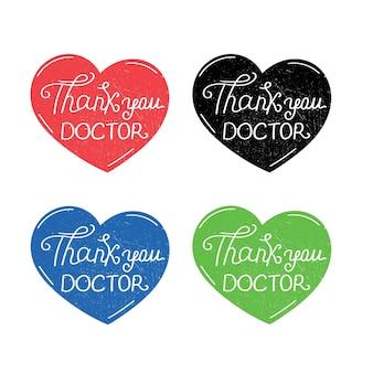 ありがとう医師ありがとうメッセージ医師はコロナウイルスステッカーハートシンボルを保存します