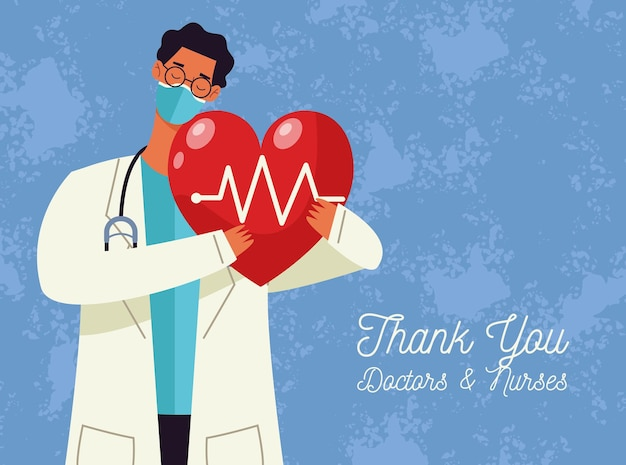 心臓の有酸素運動を持ち上げる医師の男性と一緒にカードを迎える医師と看護師に感謝します