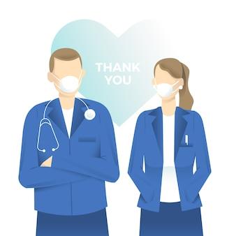 의사와 간호사 지원 메시지 개념을 감사합니다