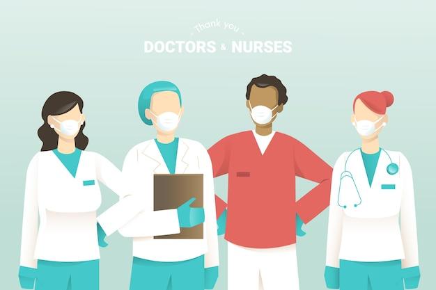 당신에게 의사와 간호사 지원 메시지 디자인 감사합니다