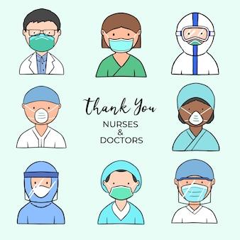 Grazie a medici e infermieri illustrati tema