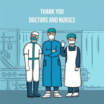 Grazie illustrazione di medici e infermieri