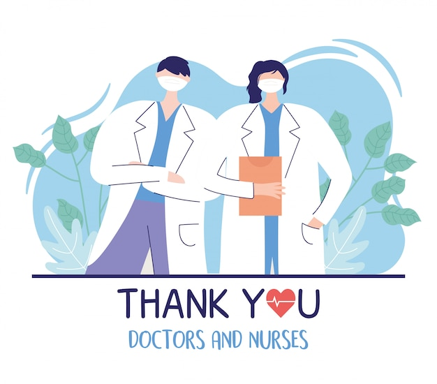 Thank you doctors and nurses, male and female physician with medical report