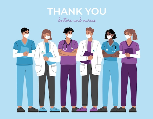 Thank you doctors, nurses and medical personnel, heroes group of healthcare frontline workers team. professional therapist and hospital staff.