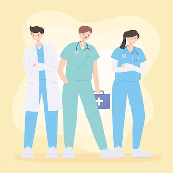 Thank you doctors and nurses, medical teamwork people characters