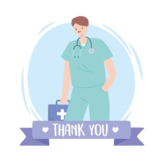 Thank you doctors and nurses, physician with stethoscope and kit first aid