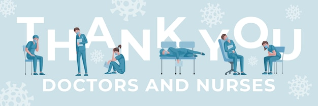 Thank you doctors and nurses  poster template. stop coronavirus covid-19 banner concept.