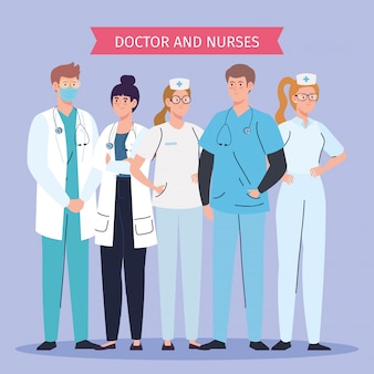 Thank you doctors and nurses working in hospitals, fighting the coronavirus covid 19 vector illustration design